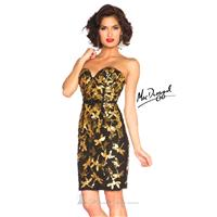 Black/Gold Sequined Short Sheath Dress by Mac Duggal Black White Red - Color Your Classy Wardrobe
