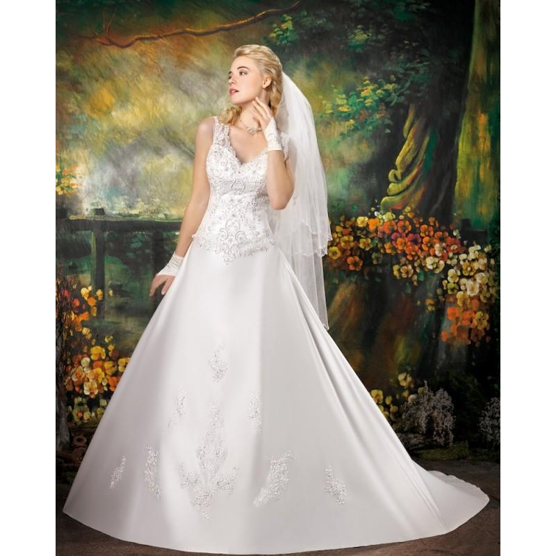 wedding, Generous A-line Straps V-neck Lace Chapel Train Satin Wedding Dresses - Dressesular.com