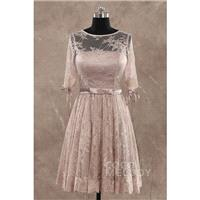 Perfect A-line Illusion Natural Knee Length Lace Half Sleeve Wedding Guest Dress with Ribbons LOZK14