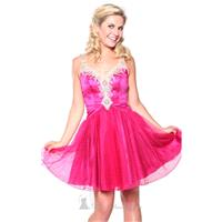 Fuchsia Beaded V Neckline Tulle Dress by Atria - Color Your Classy Wardrobe