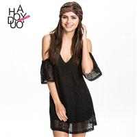 2017 summer new style sexy strapless low cut lace dress fashion deep v cross Halter dress - Bonny YZ