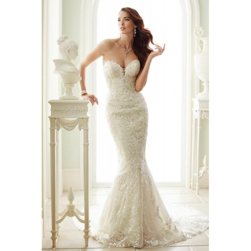My Stuff, Style Y21671 by Sophia Tolli for Mon Cheri - Sheath Chapel Length Sleeveless LaceTulle Flo