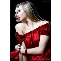 Red Silk Wisteria Gown by Kambriel - Empire Dress - to wear on or off the shoulders - Brand New & Re