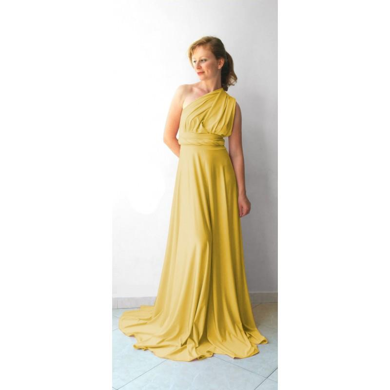 My Stuff, Infinity Dress in color light mustard floor length with long straps - Hand-made Beautiful