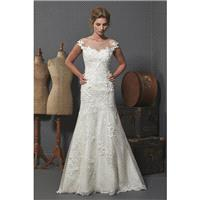 Romantica Oxford by Opulence Bridal - Lace Floor Off-Shoulder  Illusion Fit and Flare Wedding Dresse