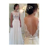 A-Line/Princess Scoop Neck Sweep Train Chiffon Lace Wedding Dress With Appliques Lace - Beautiful Sp