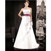Charming A-line Strapless Embroidery Sweep/Brush Train Satin&Organza Wedding Dresses - Dressesular.c