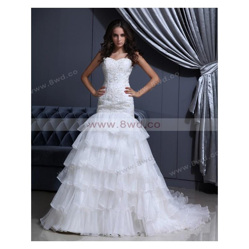 wedding, Trumpet/Mermaid Sweetheart Sleeveless Organza White Wedding Dress With Appliques BUKCH222 I