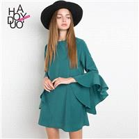 2017 summer New Women's fashion sweet loose solid color Flare Sleeves Round neck dress - Bonny YZOZO
