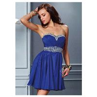 Alluring Chiffon Sweetheart Neckline A-line Homecoming Dresses with Beadings & Rhinestones - overpin