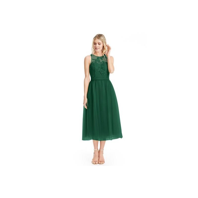 My Stuff, Dark_green Azazie Eva - Tea Length Tulle And Lace Scoop Back Zip Dress - Charming Bridesma