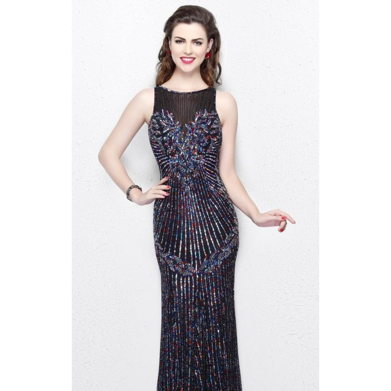 My Stuff, Black Multi Sequined Long Gown by Primavera Couture - Color Your Classy Wardrobe