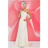 Simple A-line One Shoulder Ruching Sweep/Brush Train Satin Wedding Dresses - Dressesular.com
