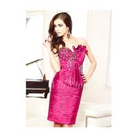 Sheath/Column Sweetheart Knee-Length Taffeta Charmeuse Cocktail Dress With Ruffle Beading Sequins Bo