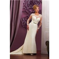 Style 3Y611 by Mary%E2%80%99s Bridal %E2%80%93 Moda Bella - Long sleeve Chapel Length LaceSatin Scoo