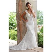 Style 117193 by Sophia Tolli for Mon Cheri - Trumpet Cap sleeve Chapel Length V-neck Floor length La
