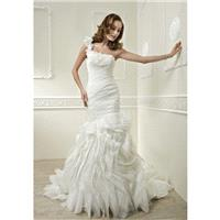 Stunning Floor Length Fit N Flare One Shoulder Tulle Bridal Gowns With Ruffles - Compelling Wedding