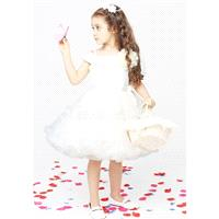 Alluring Baby Doll Off the Shoulder Knee Length Organza & Satin Flower Girl Dress - Compelling Weddi