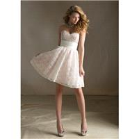 Nectarean A-line Sweetheart Lace Short/Mini Satin Bridesmaid Dresses - Dressesular.com