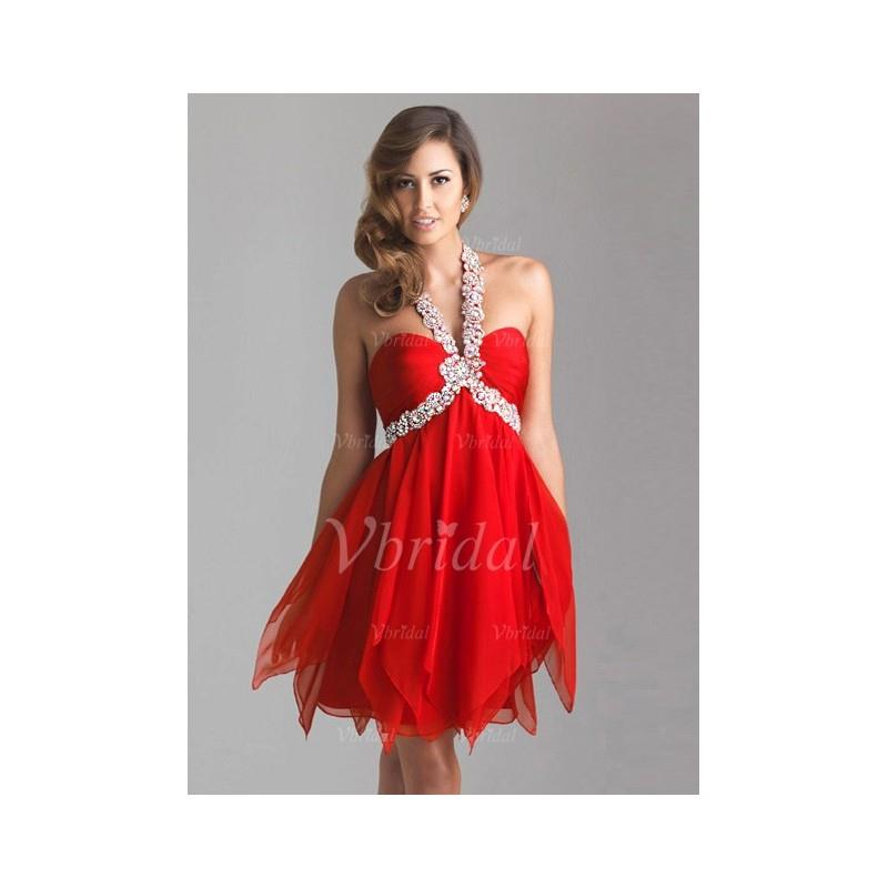 My Stuff, Empire Halter Knee-Length Chiffon Prom Dress With Ruffle Beading - Beautiful Special Occas