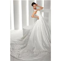 Casual A-line Straps Chapel Train Satin Ivory Wedding Dress CWLT130CB - Top Designer Wedding Online-
