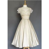 Champagne Silk Dupion Ivory Lace Sweetheart Tea Length Circle Skirt Wedding Dress - Made by Dig For