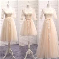 Wedding Bridesmaid lace satin organza Champaign / Grey / light pink dress - 3 different length to ch