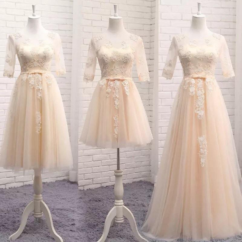wedding, Wedding Bridesmaid lace satin organza Champaign / Grey / light pink dress - 3 different len
