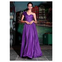 In Stock Noble A-line Sweetheart One Shoulder Neckline Full Length Ruched Beaded Party Dress - overp