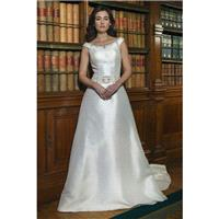 Style W437 by Alexia Bridal - Ivory  White Mikado  Satin Floor Bateau A-Line Capped Wedding Dresses