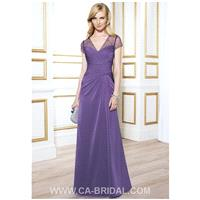 Simple A-Line V-neck Short Sleeves Beaded and Ruffle Floor-length Chiffon Mother of Bride Dress - dr