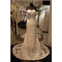 Unique Sheath-Column Sweetheart Natural Chapel Train Lace Ivory Sleeveless Zipper Wedding Dress with
