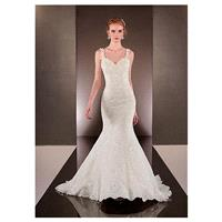Charming Lace Spaghetti Straps Neckline Natural Waistline Mermaid Wedding Dress With Beadings - over