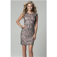 Mauve/Grey Embellished Cocktail Dress by Lara Black - Color Your Classy Wardrobe