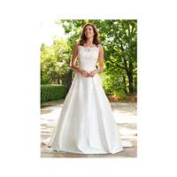 Classic A line Bateau Neck Satin & Lace Floor Length Wedding Dress With Ruching - Compelling Wedding