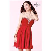 Red Strapless Ruched Mini Dress by Alyce Sweet 16 - Color Your Classy Wardrobe