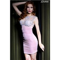Jovani 99073 Fitted Ruched Illusion Lace Empire Cutout Back - Jewel Jovani Empire Waist Short and Co