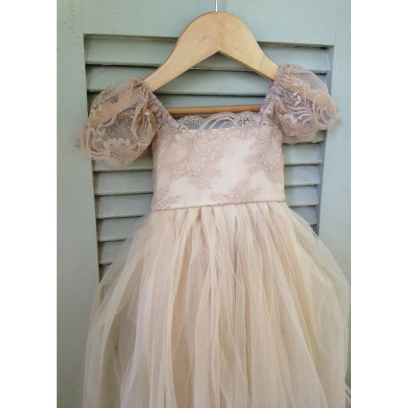 My Stuff, Beige RUE DEL SOL flower girl dress French lace and silk tulle dress for baby girl taupe p