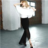 Spring and autumn slim new elegant chiffon wave stitching irregular long fishtail skirts skirts skir