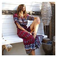 Bohemians v neck print dress long beach dress - Bonny YZOZO Boutique Store