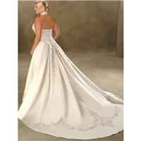 A-line Halter Embroidery Sleeveless Court Trains Satin Wedding Dresses In Canada Wedding Dress Price