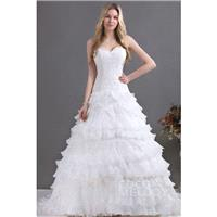 Fabulous A-Line Sweetheart Court Train Cascading Ruffles Organza Wedding Dress CWLT13073 - Top Desig