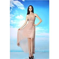 Romantic Asymmetrical High Neck Natural High-Low Sleeveless Key Hole Party Dress with Beading COKH15