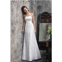 A classic wedding dress Strapless A-line Stunning Wedding dress Atlas and lace wedding gown   - _Kap