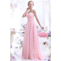 Sweet Sheath-Column Straps Sweep-Brush Train Chiffon Primrose Pink Evening Dress COZT13007 - Top Des