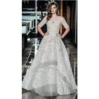 Reem Acra Spring/Summer 2018 13Majestic 1/2 Sleeves Sweetheart Sweet Ball Gown Court Train Ivory Lac