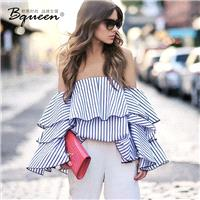 2017 summer new character a sense of off-the-shoulder fringe Flare Sleeves Backless tops T-Shirt blo