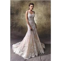 Lotus by Enzoani - Lace  Tulle Floor Illusion  Straps  V-Neck Body-skimming Wedding Dresses - Brides