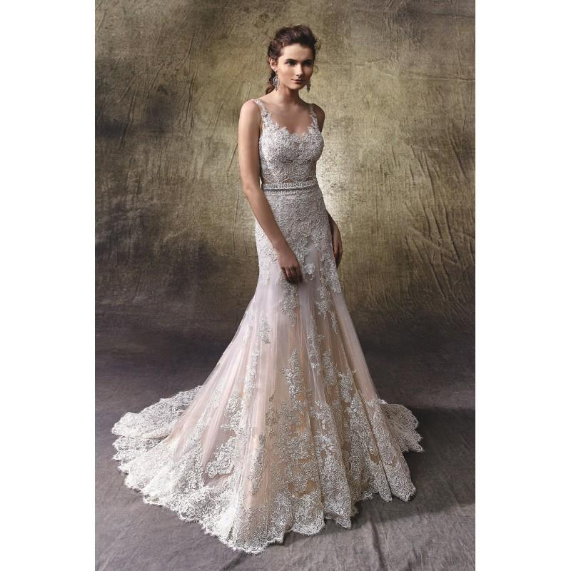 wedding, Lotus by Enzoani - Lace  Tulle Floor Illusion  Straps  V-Neck Body-skimming Wedding Dresses