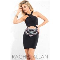 Rachel Allan 4165 Dress - Fitted, Surplice Bodice Halter Homecoming Short Rachel Allan Dress - 2017